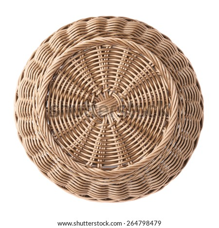 Empty fruit wicker brown basket bowl isolated over the white background, top view above foreshortening - stock photo