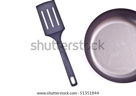 Empty frying pan isolated on white - stock photo