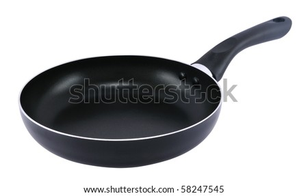 Empty frying pan isolated on white background. - stock photo