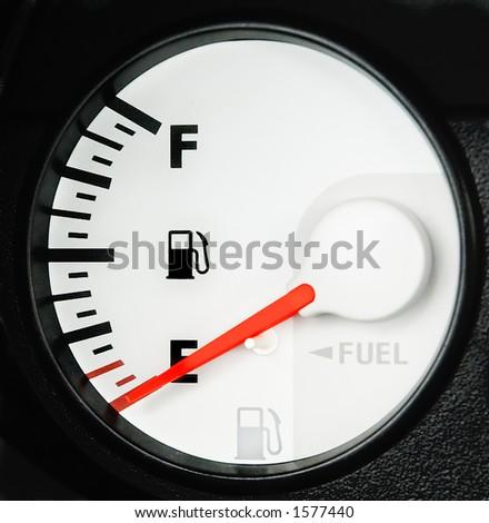 empty fuel gauge detail 1 - stock photo
