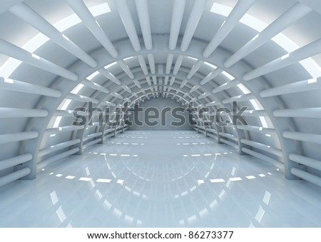 empty futuristic interior with balks - 3d illustration - stock photo