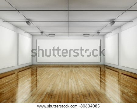 Empty Gallery, Hall with Frames, 3d Place - stock photo