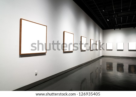 empty gallery in art museum - stock photo