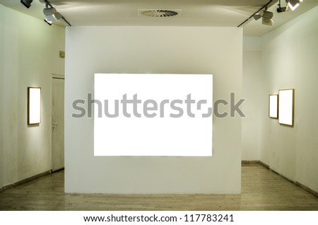 Empty gallery room - stock photo