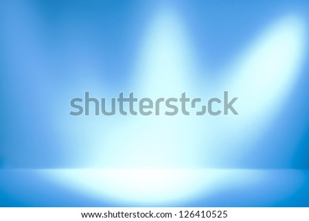 Empty gallery wall with lights for images and advertisement. Three light sources - stock photo