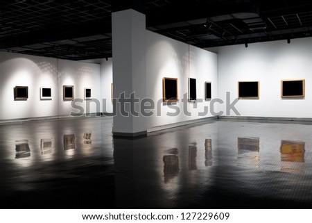 empty gallerys in museum - stock photo