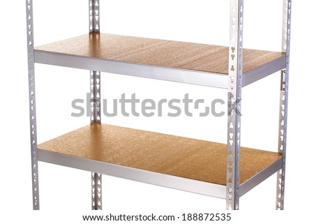 empty galvanized shelves with wooden boards - stock photo