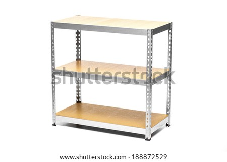 empty galvanized shelves with wooden boards, isolated on white - stock photo