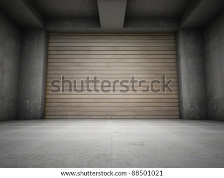 Empty garage with metallic roller shutter door - stock photo