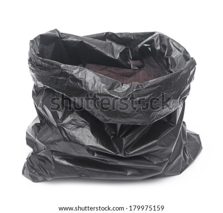 Empty Garbage Bag On White Background Stock Photo