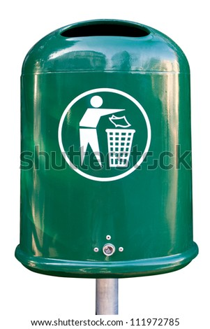 Empty garbage can in a park - isolated - stock photo