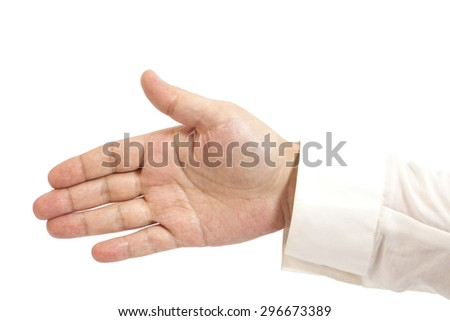Empty gesture businessman  hand isolated on white background - stock photo