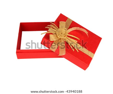 Empty gift box over white background