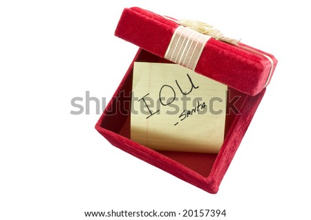 Empty Gift Box with IOU from Santa - stock photo