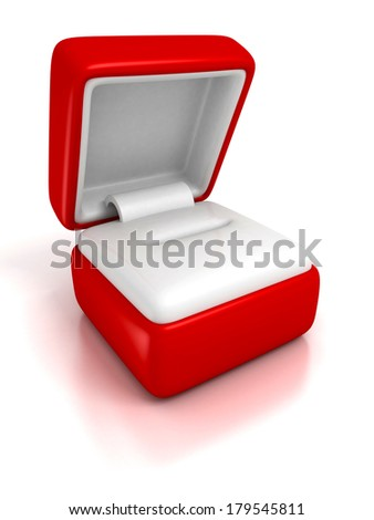 empty gift jewelry box on white background with reflection 3d