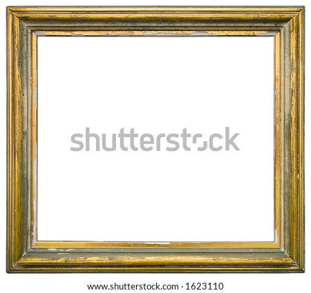 Empty gilded picture frame - stock photo