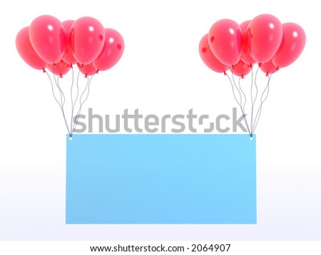 empty glass board and red balloons - stock photo