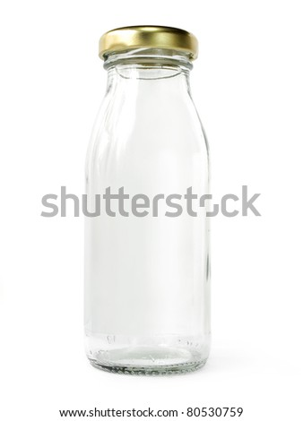 Empty glass bottle of milk with golden cap isolated on white background - stock photo