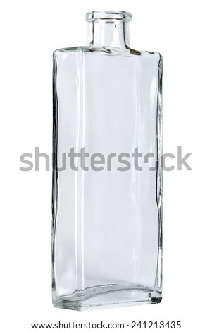 Empty glass bottle, open and without stopper - stock photo