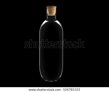 empty Glass bottle with cork on black background. - stock photo