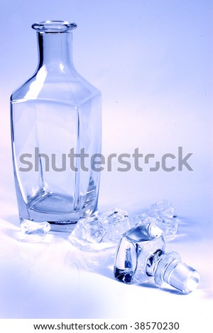 empty glass bottle with ice