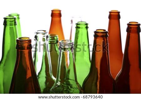 Empty glass bottles - stock photo