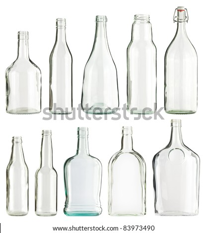 Empty glass bottles collection, isolated - stock photo
