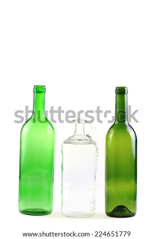 empty glass bottles isolated on the white background