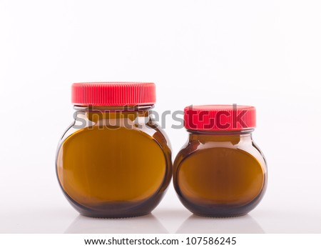 Empty glass bottles on white background - stock photo