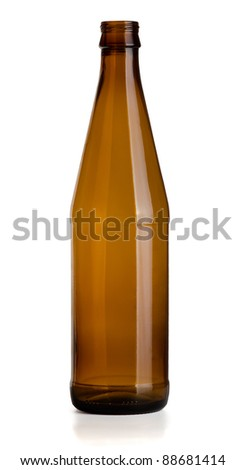 Empty glass brown beer bottle isolated on white - stock photo