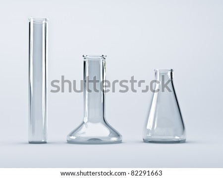 Empty glass chemical flask with a light background