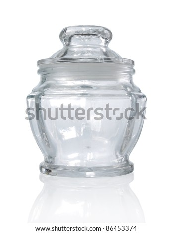 empty glass container on white background
