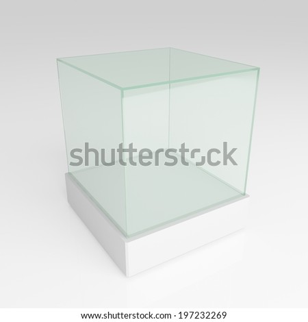 Empty glass cube - stock photo