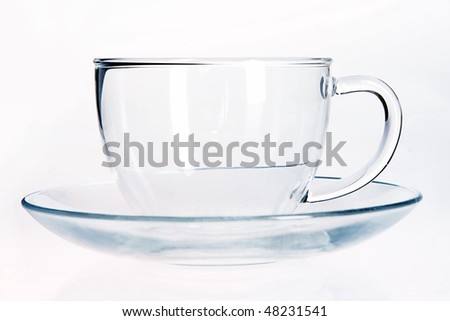 Empty Glass cup and saucer. - stock photo