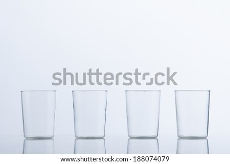 Empty glass cups