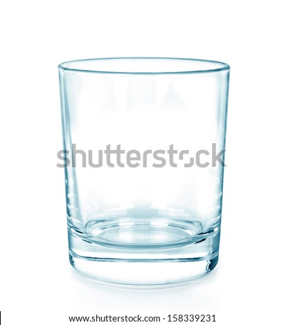 Empty glass for water, isolated on white background