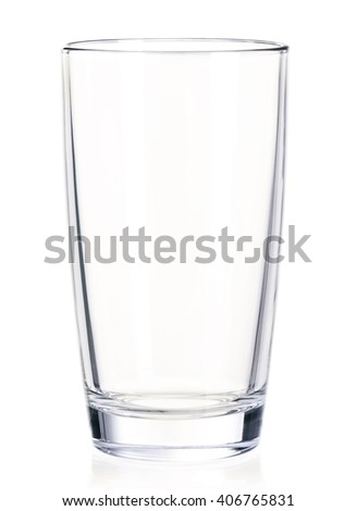 Empty glass for water, juice or milk isolated on white background