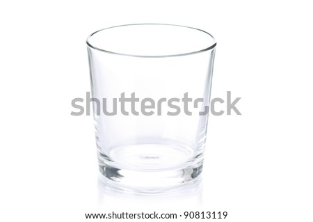 Empty glass for water, juice or milk on white background - stock photo