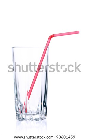 Empty glass for water, juice or milk with straw on white background