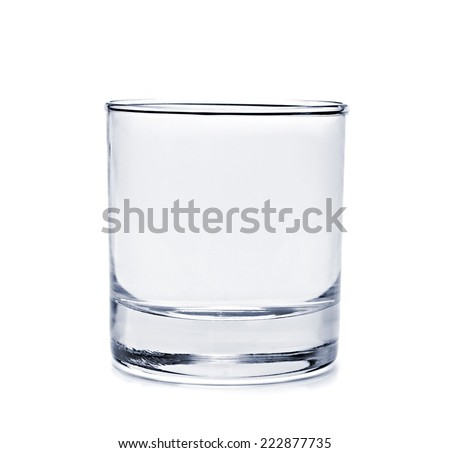 Empty glass for water on white background - stock photo