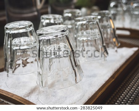 Empty Glass in tray, Restaurant bar object - stock photo