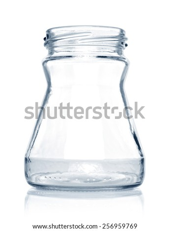 empty glass jar isolated  on a white background - stock photo