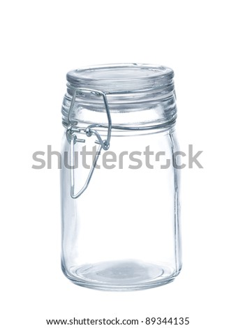 Empty glass jar isolated on pure  white background - stock photo