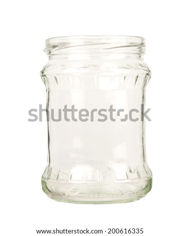 Empty Glass jar isolated on white  - stock photo