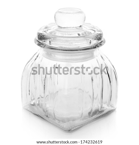Empty glass jar isolated on white background.