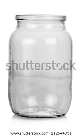 Empty Glass jar isolated on white  background - stock photo