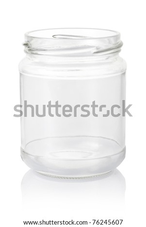 Empty glass jar isolated on white background, clipping path included