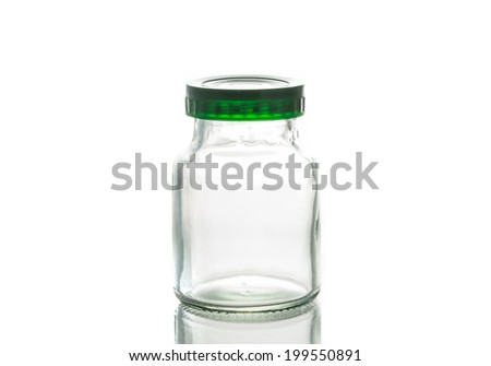 Empty glass jar  with green cap