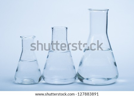 Empty glass laboratory utensils.Laboratory beakers on white background