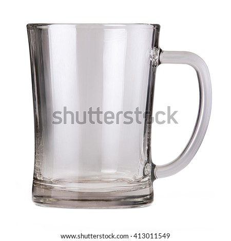 Empty glass mug for beer or ale isolated on white background with clipping path. - stock photo